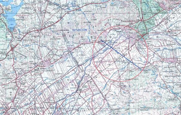 Mapa de la zona en la que se encuentran los tubos del trasvase