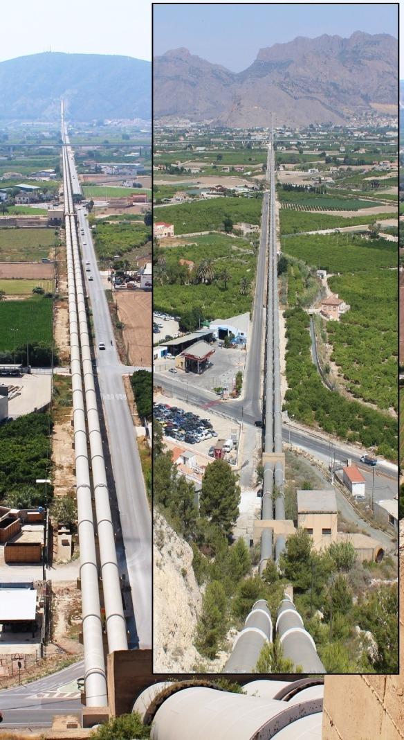 Vista enfrentada del sifón con su inicio en la sierra de Orihuela a la izquierda y la subida a Hurchillo, al final, a la derecha